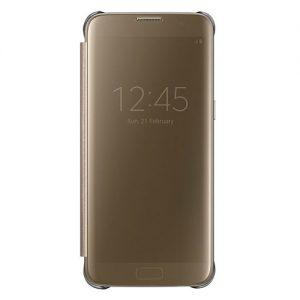 Mặt trước của bao da Clear view Galaxy S7 edge chính hãng màu vàng sâm panh